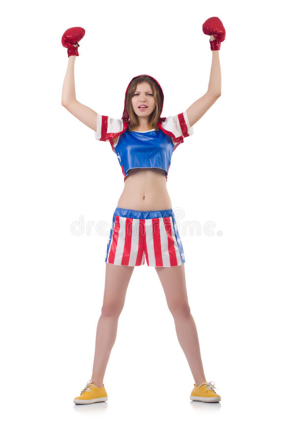 Download Woman boxer stock image. Image of fourth, female, flag - 34468801