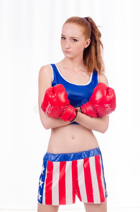 Download Woman boxer in uniform stock image. Image of muscular - 36985563