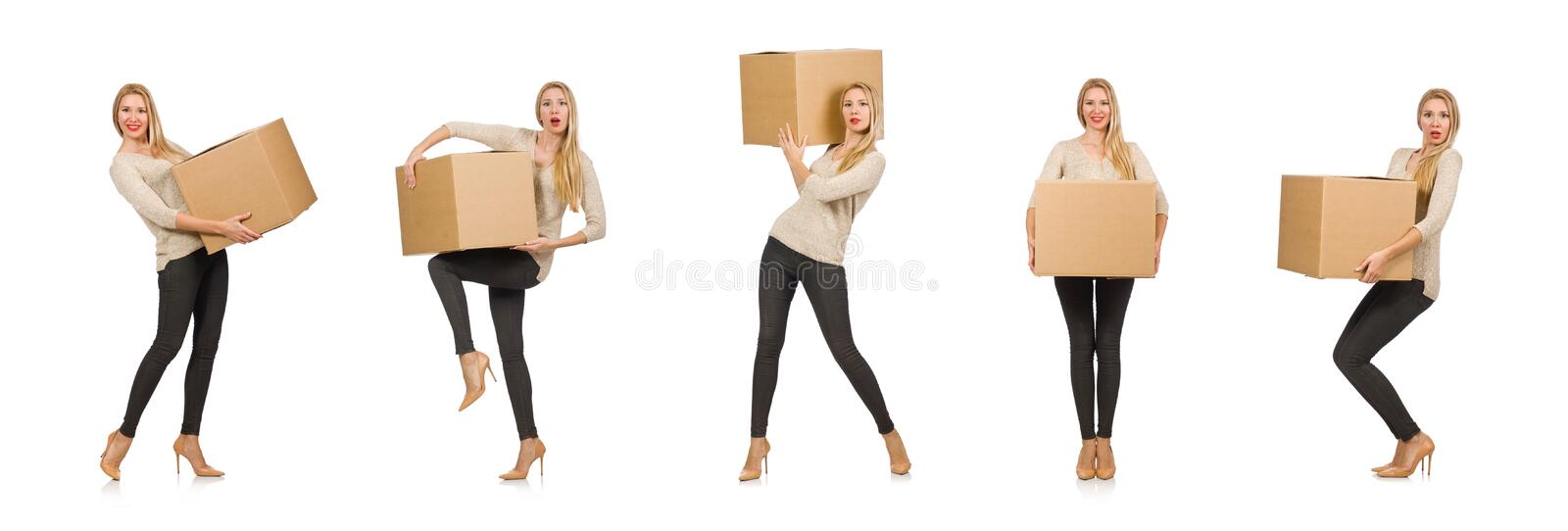Woman with boxes relocating to new house isolated on white. The woman with boxes relocating to new house isolated on white royalty free stock photos