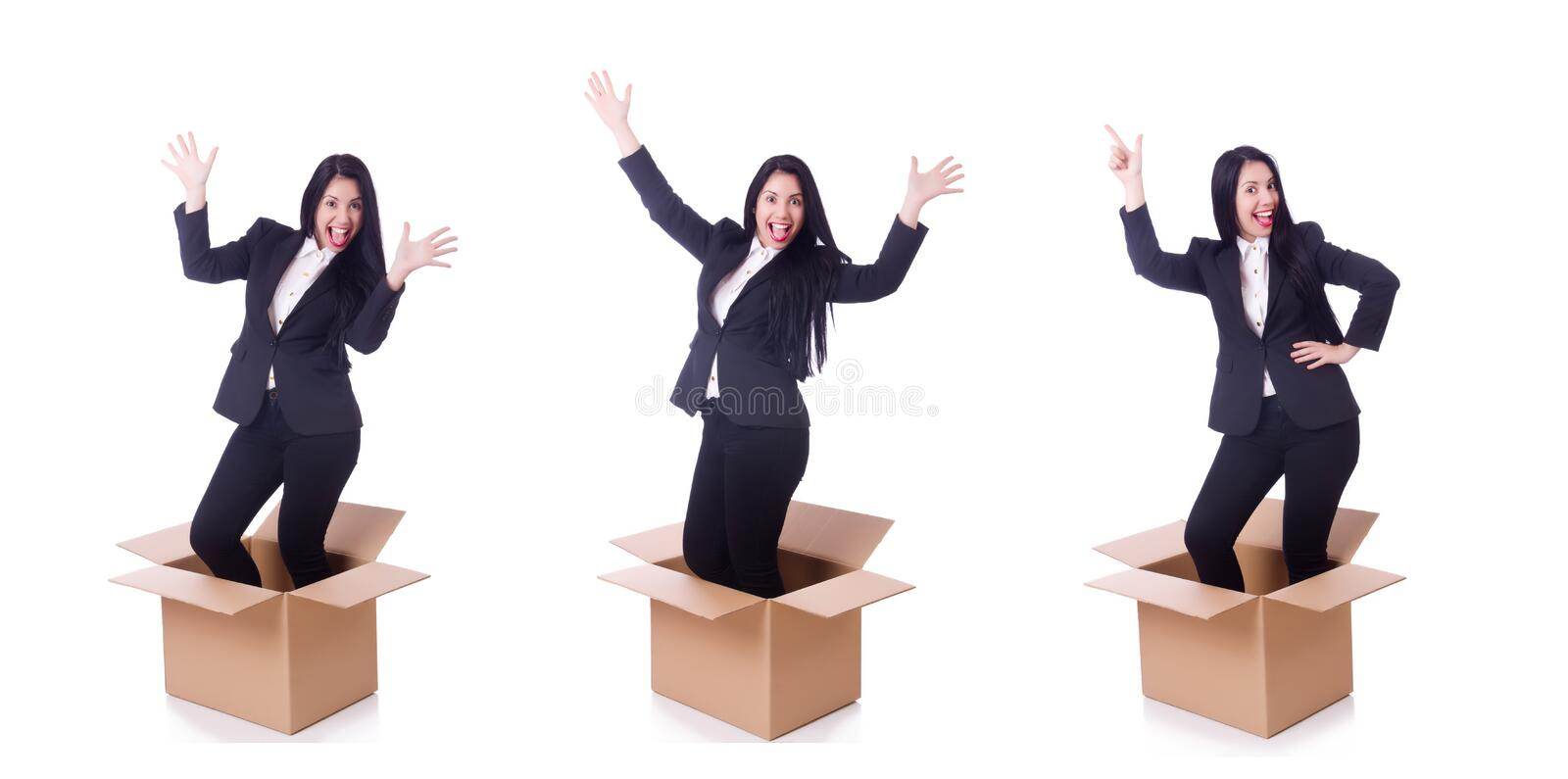 Woman with boxes on white royalty free stock image