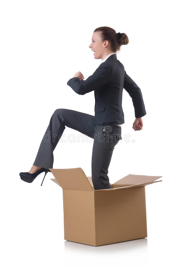 Woman With Boxes Royalty Free Stock Photos