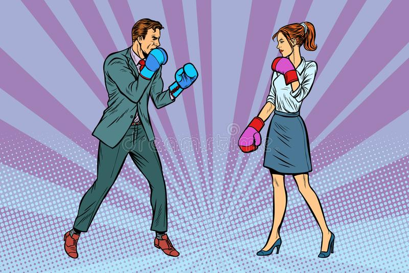 Woman Boxing fights with man. Pop art retro vector illustration kitsch vintage stock illustration