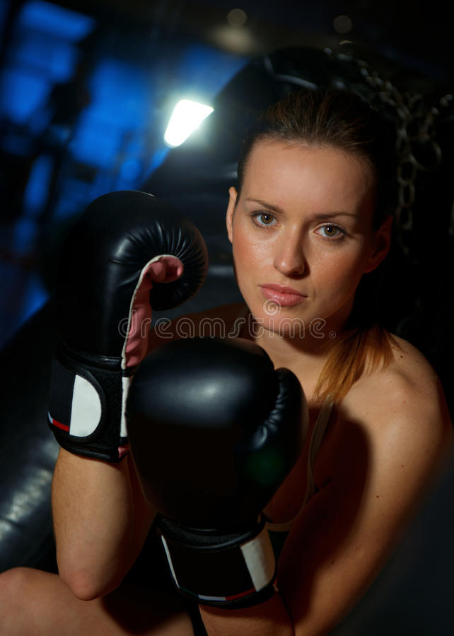 Download Woman with boxing gloves stock image. Image of energy - 17735039