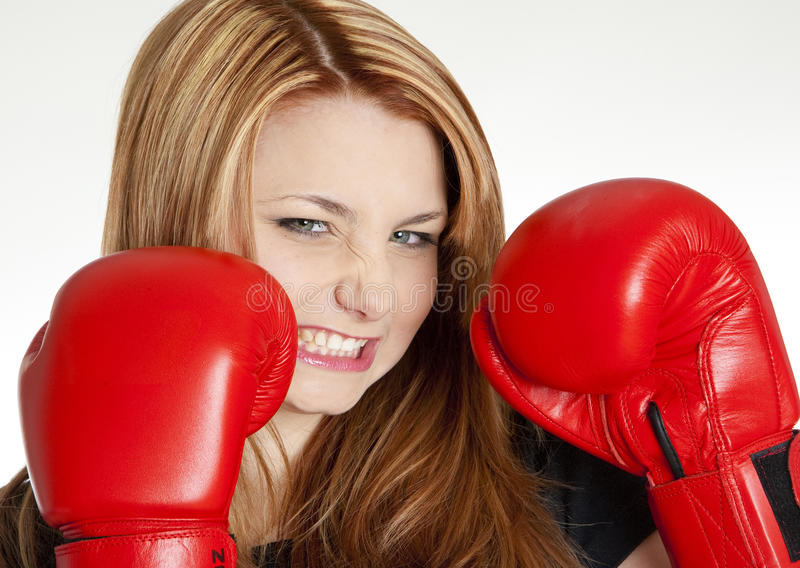 Download Woman with boxing gloves stock image. Image of emotions - 18120325