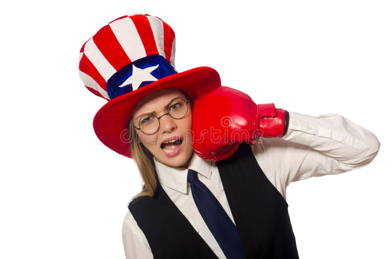 Woman with boxing gloves isolated on white. The woman with boxing gloves isolated on white stock images