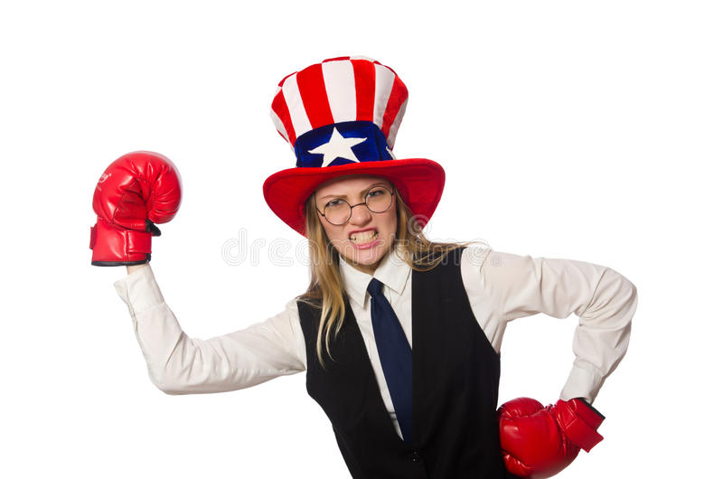 The woman with boxing gloves isolated on white. Woman with boxing gloves isolated on white stock image