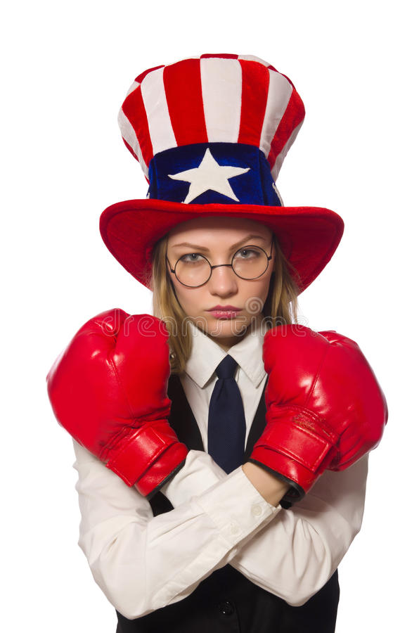 The woman with boxing gloves isolated on white. Woman with boxing gloves isolated on white royalty free stock images