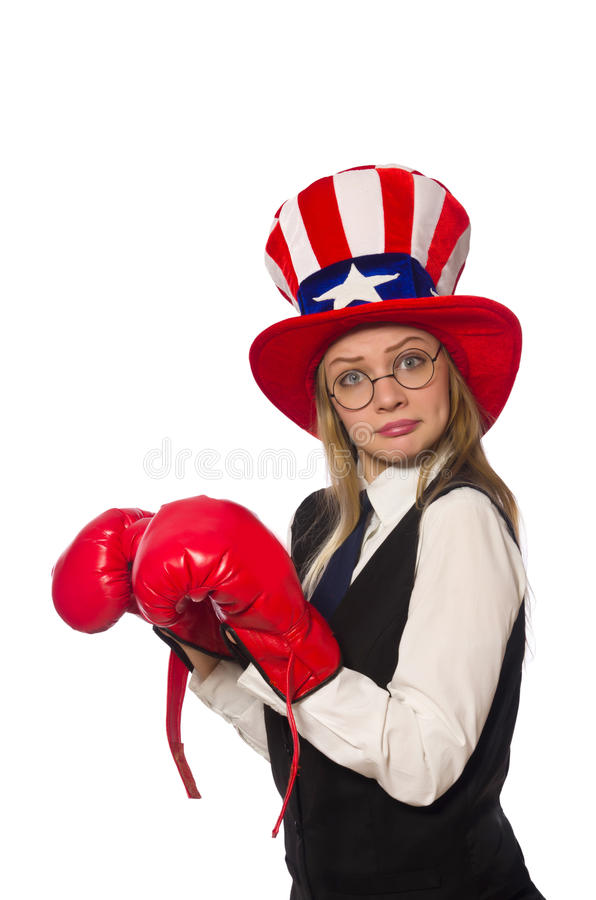 The woman with boxing gloves isolated on white. Woman with boxing gloves isolated on white royalty free stock photography