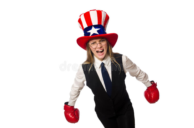 The woman with boxing gloves isolated on white. Woman with boxing gloves isolated on white royalty free stock image