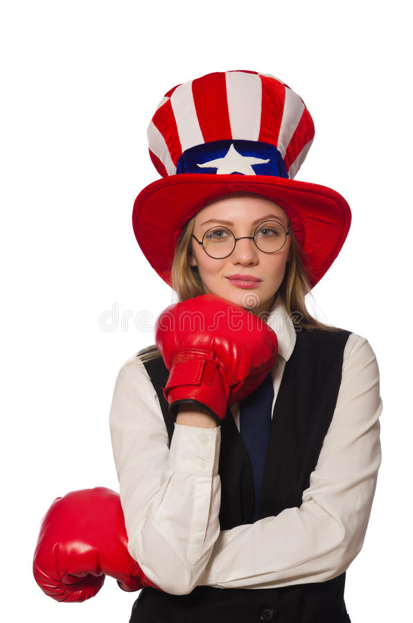 The woman with boxing gloves isolated on white. Woman with boxing gloves isolated on white royalty free stock photos