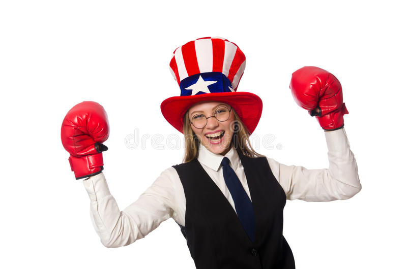 The woman with boxing gloves isolated on white. Woman with boxing gloves isolated on white stock photos