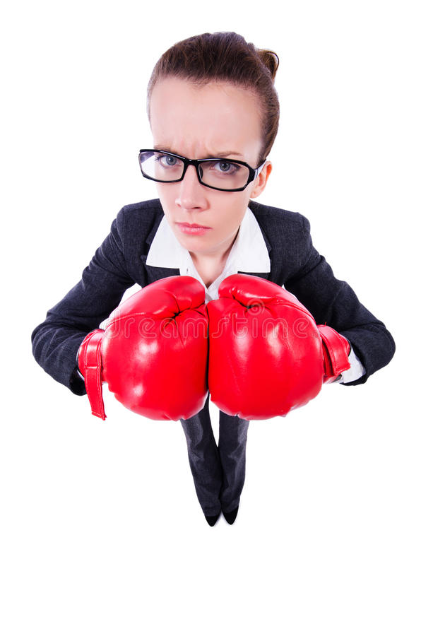 Download Woman with boxing gloves stock photo. Image of conflict - 32218844