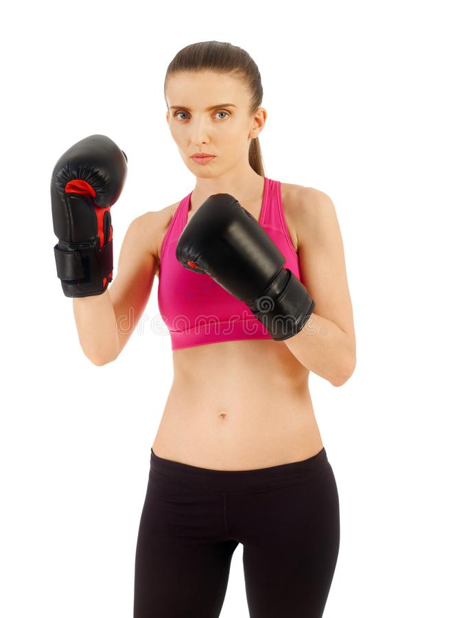 Woman with boxing gloves stock images