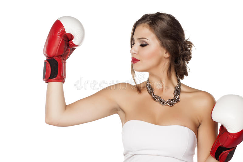 Woman with boxing gloves royalty free stock photos