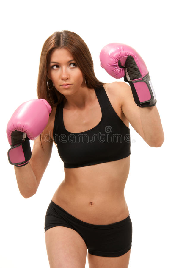 Download Woman Boxing In Pink Gloves Stock Image - Image of attack, defence: 19270539
