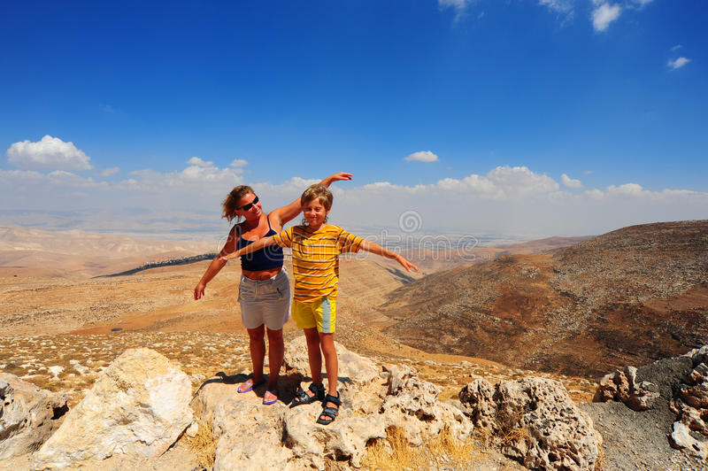 Woman And Boy. Posing On The Judea Mountain Top royalty free stock photography