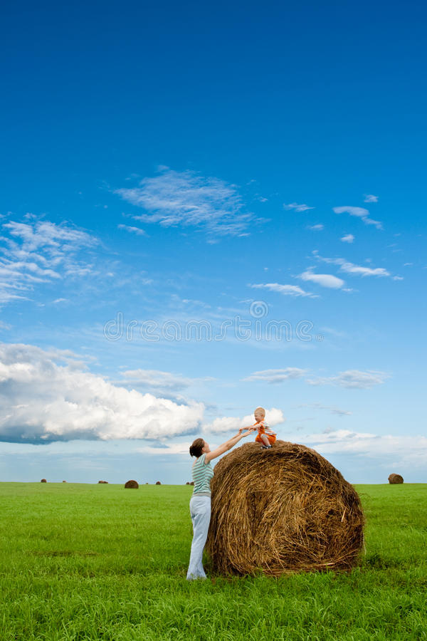 Woman and boy in the field