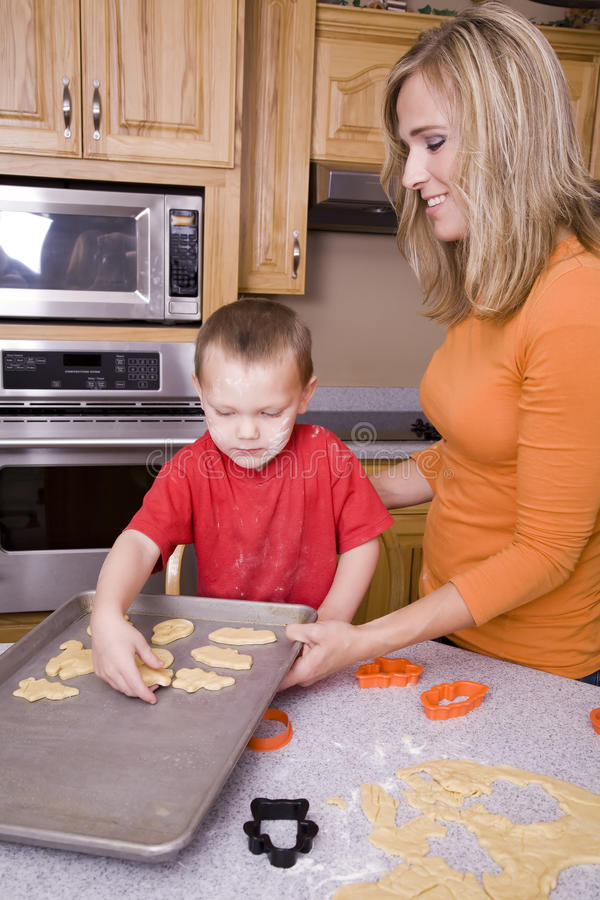 Download Woman And Boy Making Halloween Cookies Stock Image - Image: 11482409