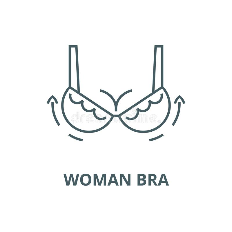 Woman bra,breast augmentation,surgery vector line icon, linear concept, outline sign, symbol. Woman bra,breast augmentation,surgery vector line icon, outline vector illustration