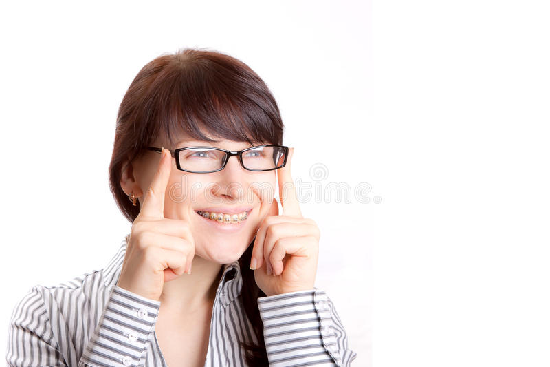 Woman with bracket stock photo