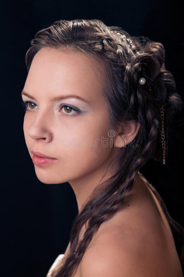 Woman with braid hairdo stock images