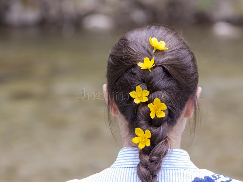 Woman with braided hair and flowers in her hair stock image