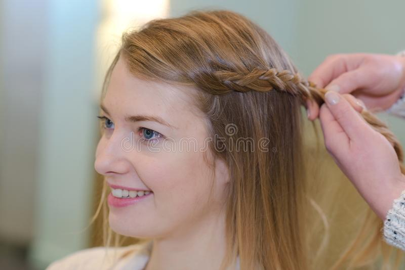 Woman with braided hair royalty free stock photography