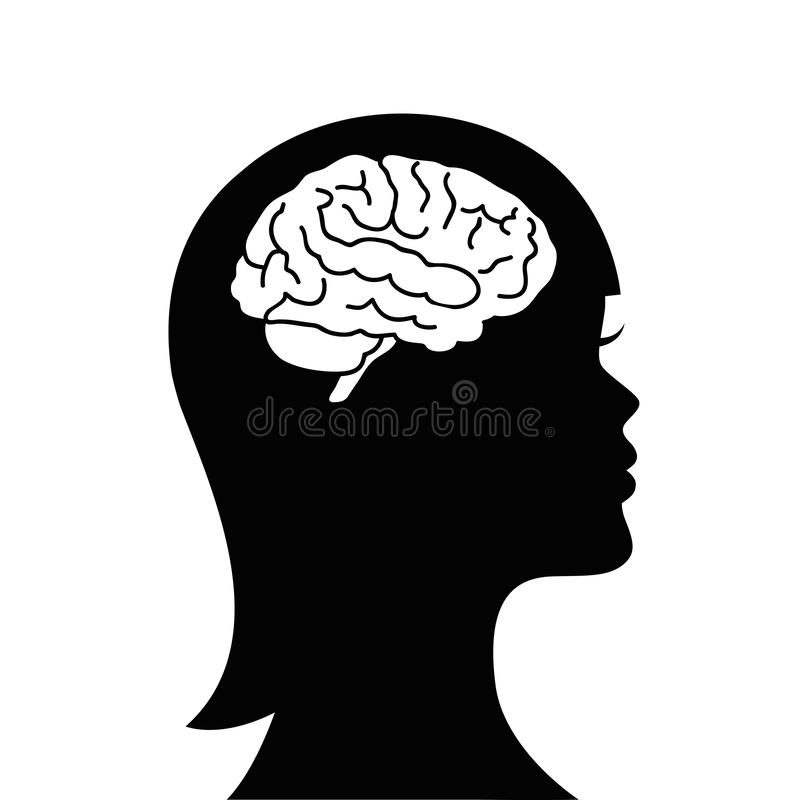 Woman with brain isolated silhouette symbol. Vector illustration stock illustration