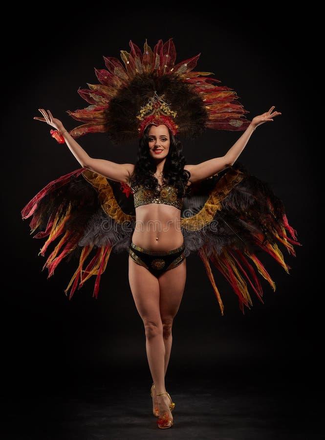 Woman in brazilian carnival costume. royalty free stock photos