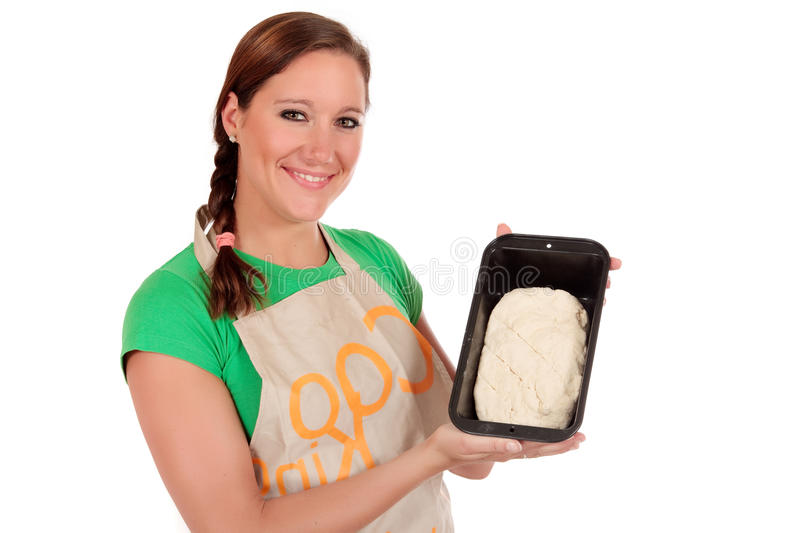 Woman bread dough royalty free stock images