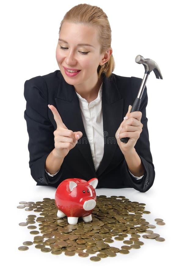 Download Woman breaking piggy bank stock image. Image of animal - 27047561
