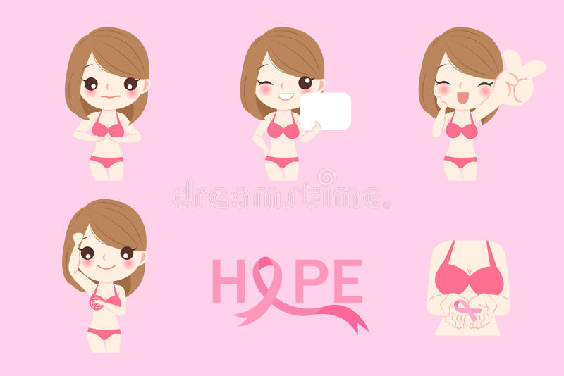 Woman with breast cancer royalty free illustration