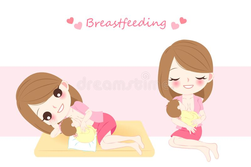 Woman with breast feeding. Concept on the pink background royalty free illustration