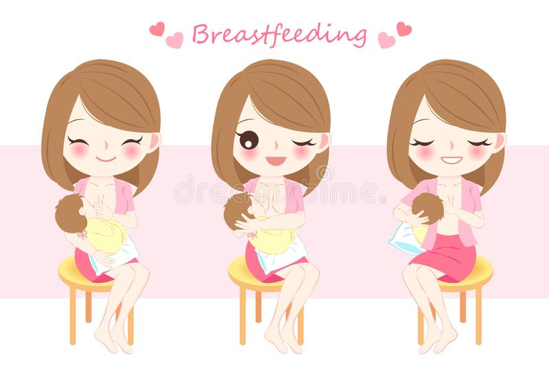 Woman with breast feeding. Concept on the pink background vector illustration