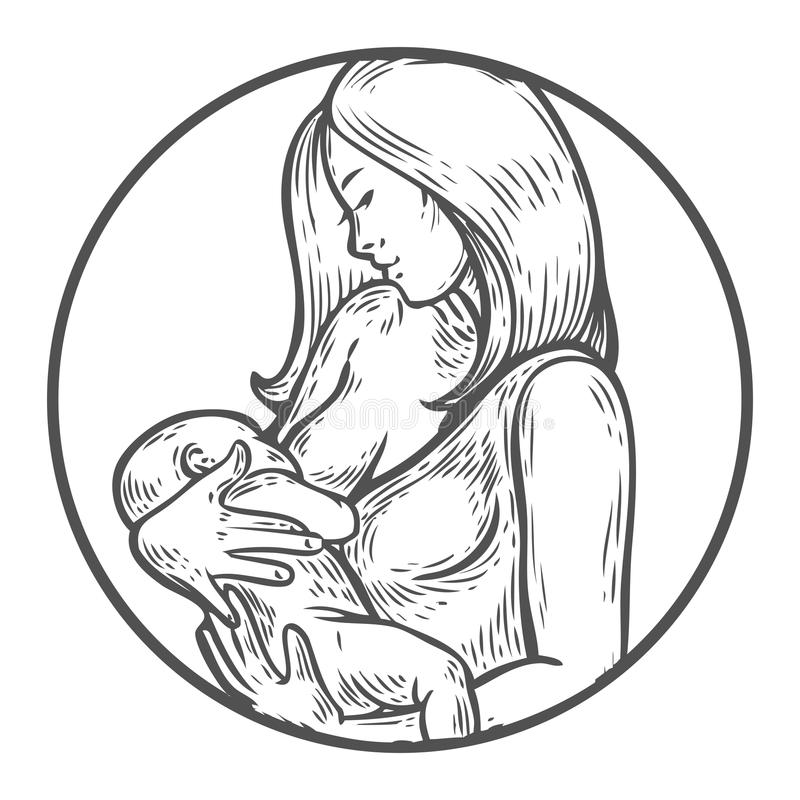 Woman breastfeeding baby, mother holding newborn baby in arms feeding him. With breast milk. Breastfeeding coalition, breast feeding mothers support lactation vector illustration