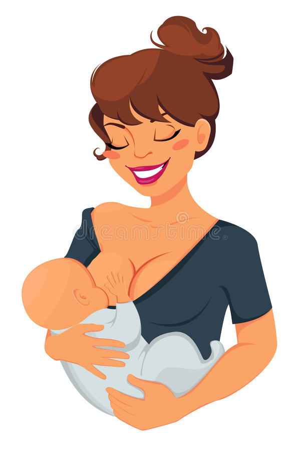 Woman breastfeeding newborn baby. Mother holding her child and smiling. vector illustration