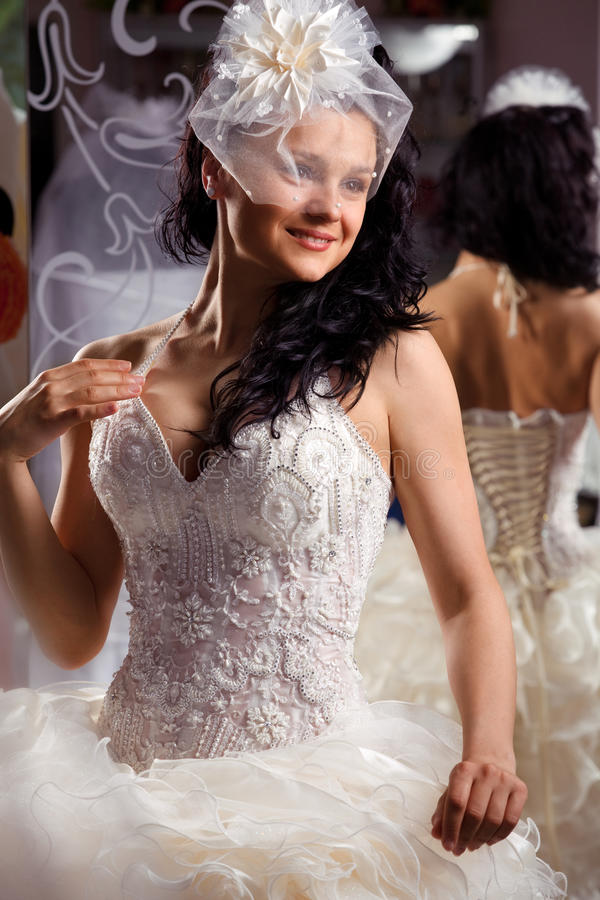 Woman In Bridal Shop Stock Photos