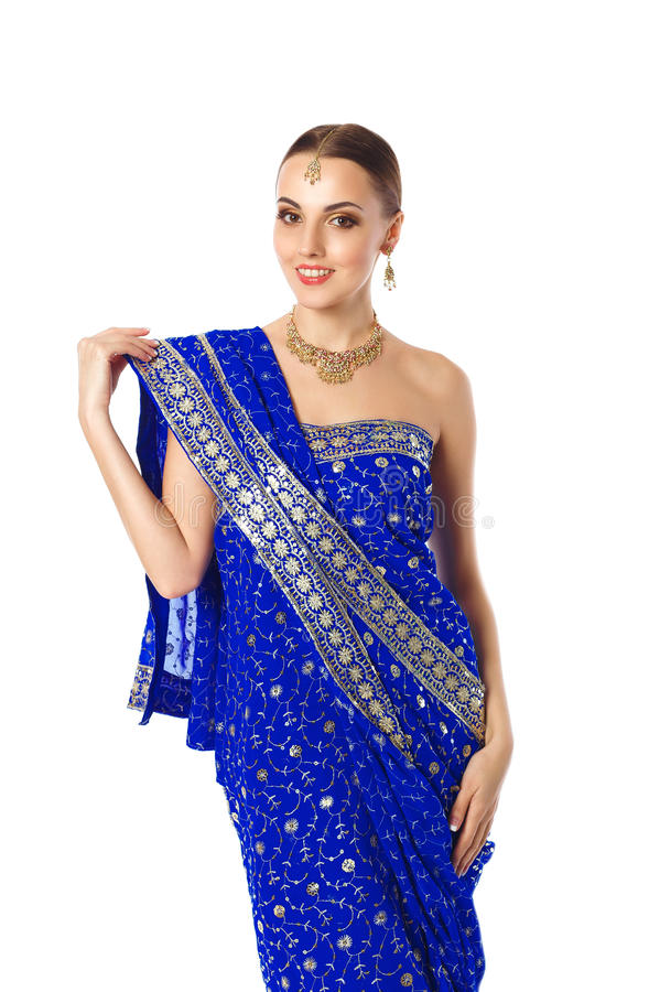 Woman In Bright Blue Indian Traditional Mekhla Clothes And Accessories royalty free stock photo