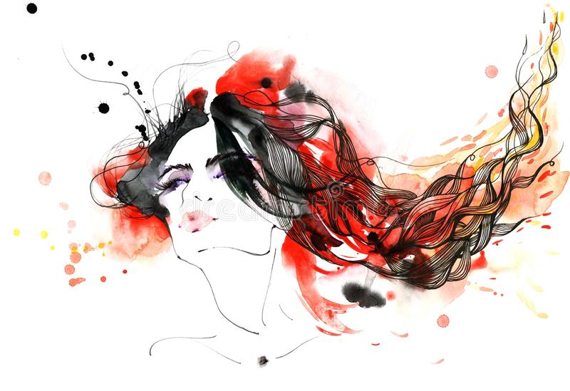 Flaming hair. Woman with a bright fire in her hair vector illustration