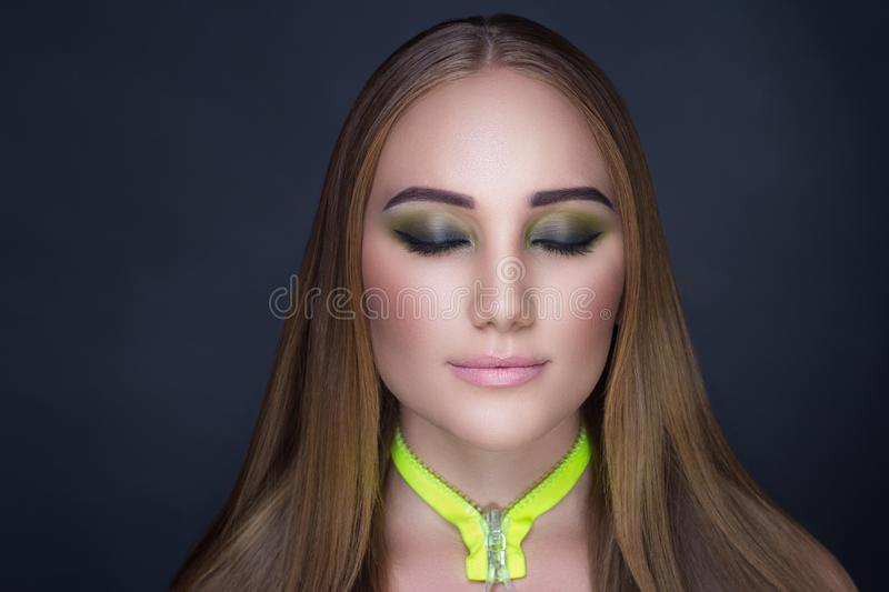 Woman bright make up stock images