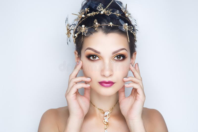 Woman bright make up royalty free stock images