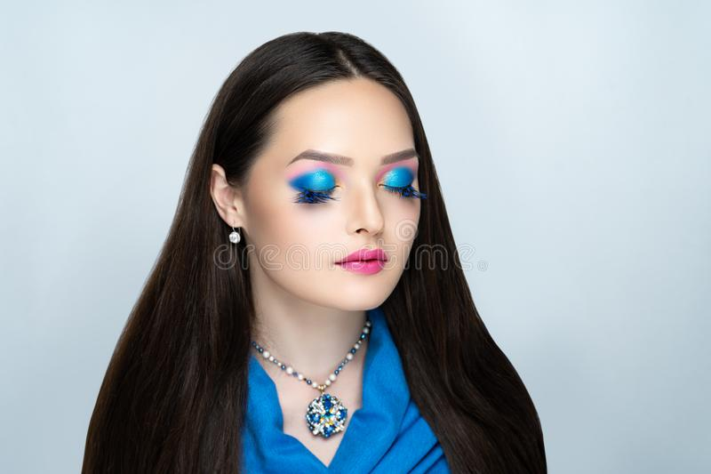Woman bright make up stock photo