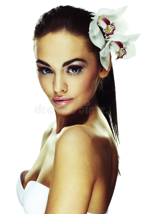 Woman with bright white flowers royalty free stock photo