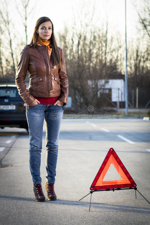 Download Woman with broken car stock photo. Image of damaged, warning - 23730832