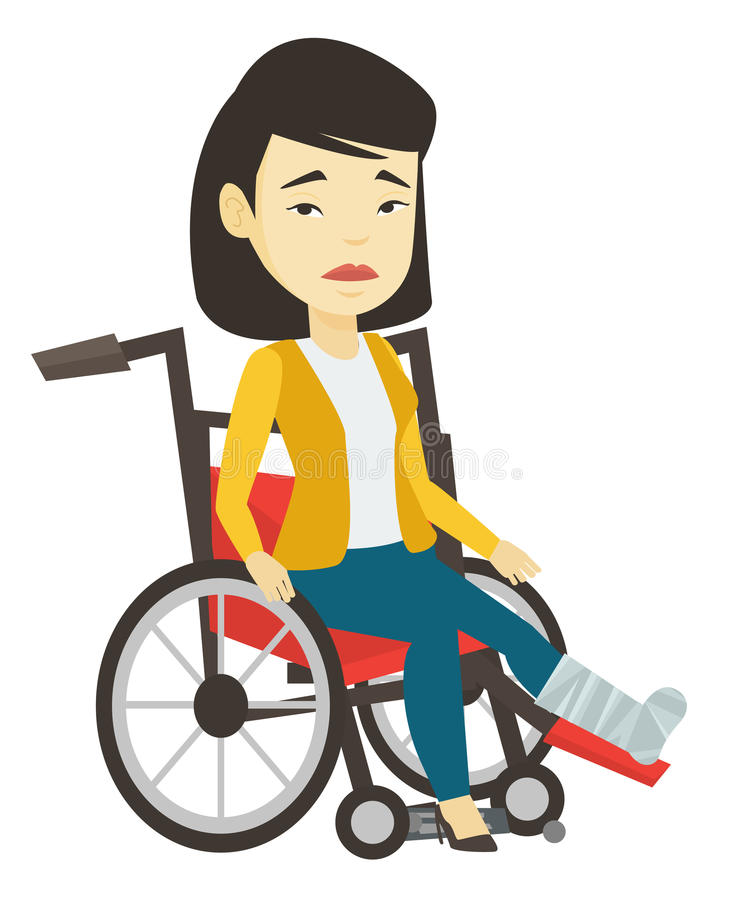 Woman with broken leg sitting in wheelchair. Woman with leg in plaster suffering from pain. Woman sitting in wheelchair with broken leg. Woman with fractured royalty free illustration