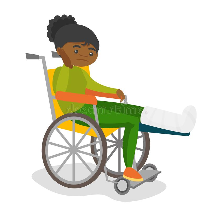 Woman with broken leg sitting in a wheelchair. Young sad african-american woman sitting in a wheelchair with broken leg in gypsum. Injured upset patient with vector illustration