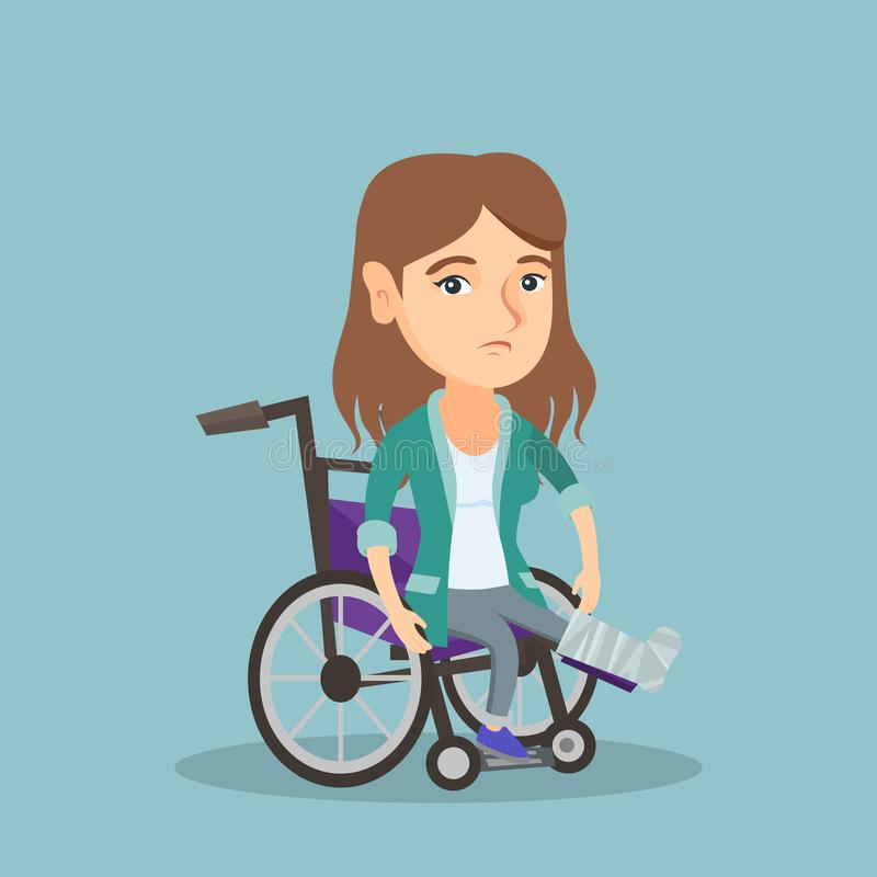 Woman with broken leg sitting in a wheelchair. Young sad caucasian woman sitting in a wheelchair with broken leg in gypsum. Injured upset woman with fractured vector illustration