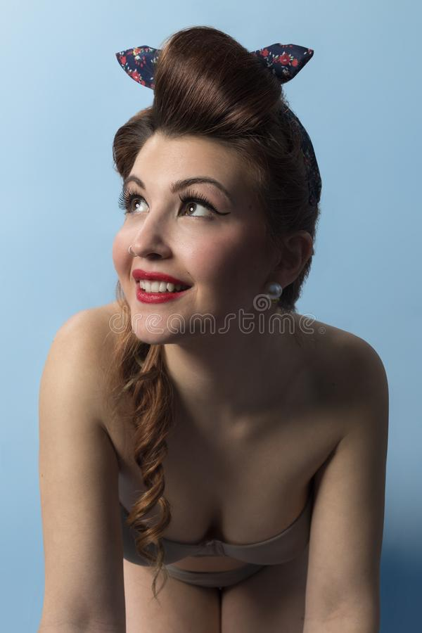 Woman in Brown Bra and Hair Tie royalty free stock images