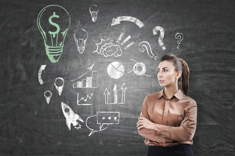 Download Woman In Brown, Business Idea Sketch On Chalkboard Stock Image - Image: 83722091