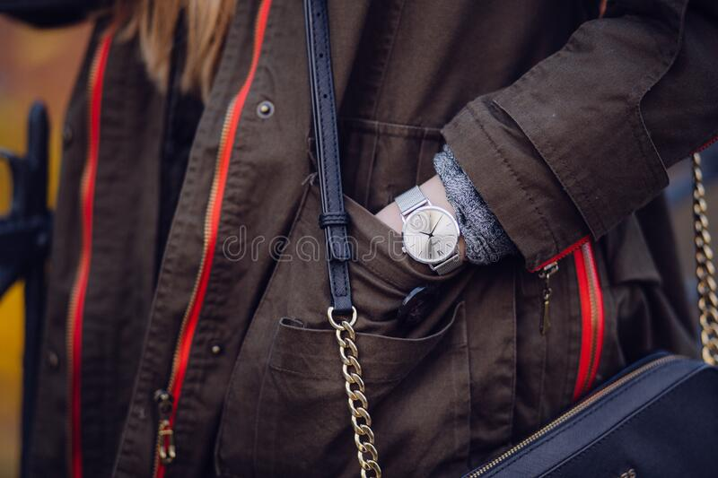 Woman Brown Coat Wearing Silver Analog Watch While Hand in Her Pocket royalty free stock photos